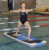 New floating type inflatable air yoga sup board mat on water /inflatable water floating pedal board fitness mat