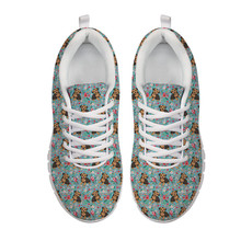 Morkie Flower Printing Custom Shoe Manufacturers Breathable Mesh <strong>Flat</strong> Women's Fashion Sneakers for Dropshipping