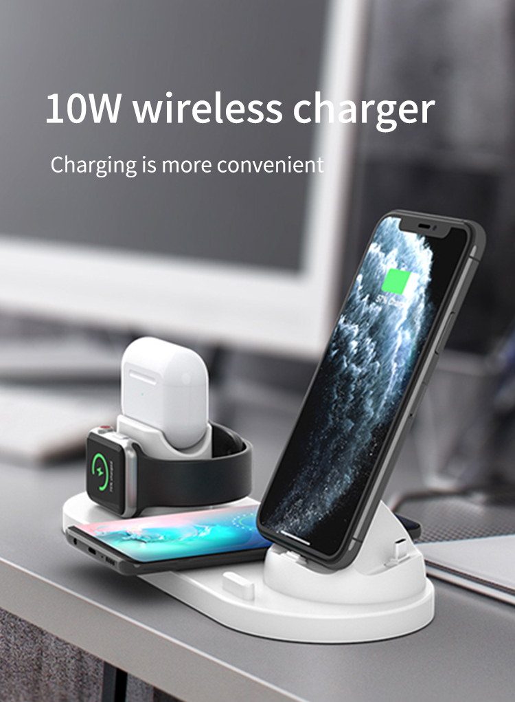 wireless chargers for apple watch 4-in-1 charger station for iPhone/Micro/Typec charger dock for Airpods