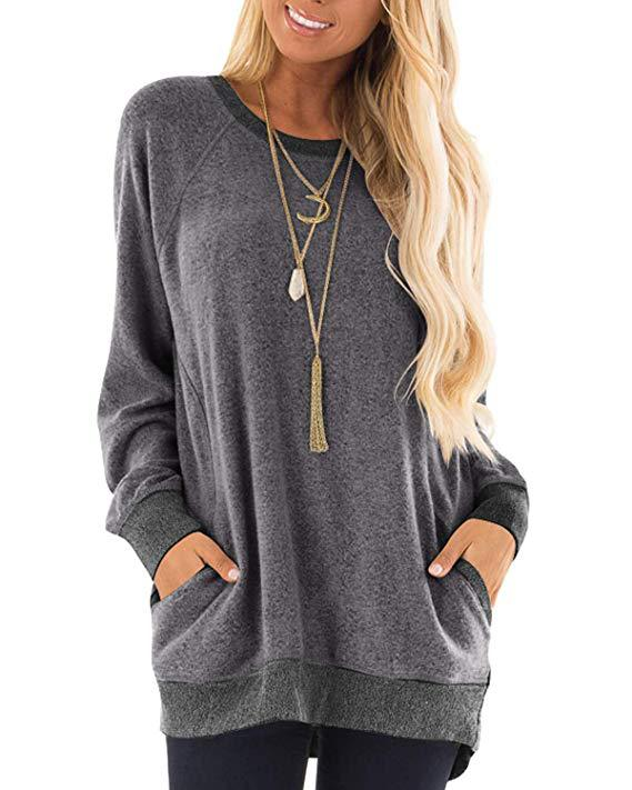 Autumn New Round Neck Solid Color Pocket Length Sleeve Sweater Casual T-shirt Sweatshirt