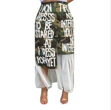 Latest Design New Women Clothing Letter Printed Camouflage Spliced Mesh Sexy Ladies <strong>Skirt</strong>