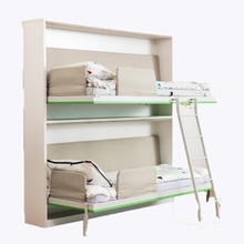 Children single size smart <strong>furniture</strong> foldable save space wall mounted wood bunk beds