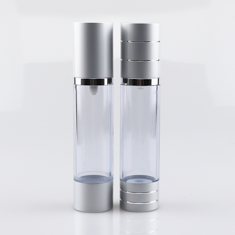 Matte silver airless pump bottle airless cosmetic cream pump containers