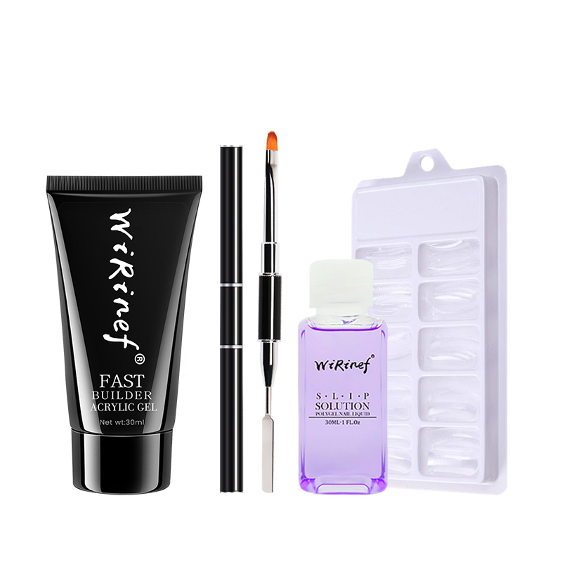 Yinikiz Poly Extension Nail <strong>Gel</strong> Kit 30g Nail Polish UV Fast Builder Set Extension Camouflage LED UV Lacquer Brush Nail Tips