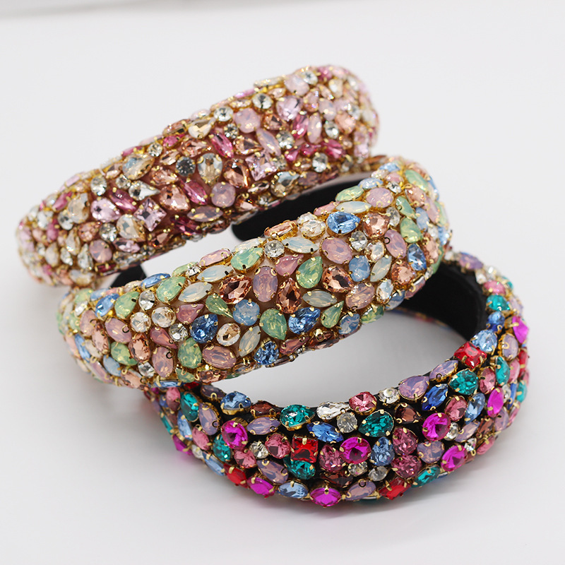 Dvacaman 2020 Designer Banquet Glitter Luxury Multicolored Full Crystal Rhinestone Bling Sponge Wide <strong>Headband</strong> for Women