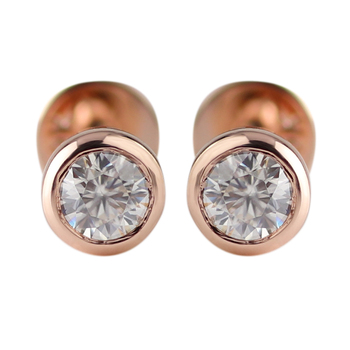 Stylish 10k rose gold stud earrings with 3mm round cut moissanite diamond
