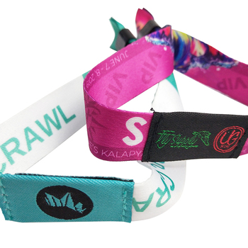 Wholesale custom polyester fabric festival wristbands for events F08 chip