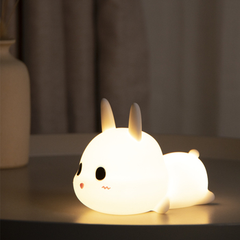 USB Rechargeable Creative Cute Silicone Kids Bedroom Tap Control LED Rabbit Night Lamp
