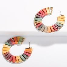 Handmade Bauble Geometry Rainbow Raffia C Shape Earrings Hollowing out Combo Raffia Statement Earrings Jewelry for Women