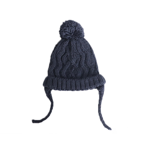 Wholesale custom plain dark gray knitted hat with pompom