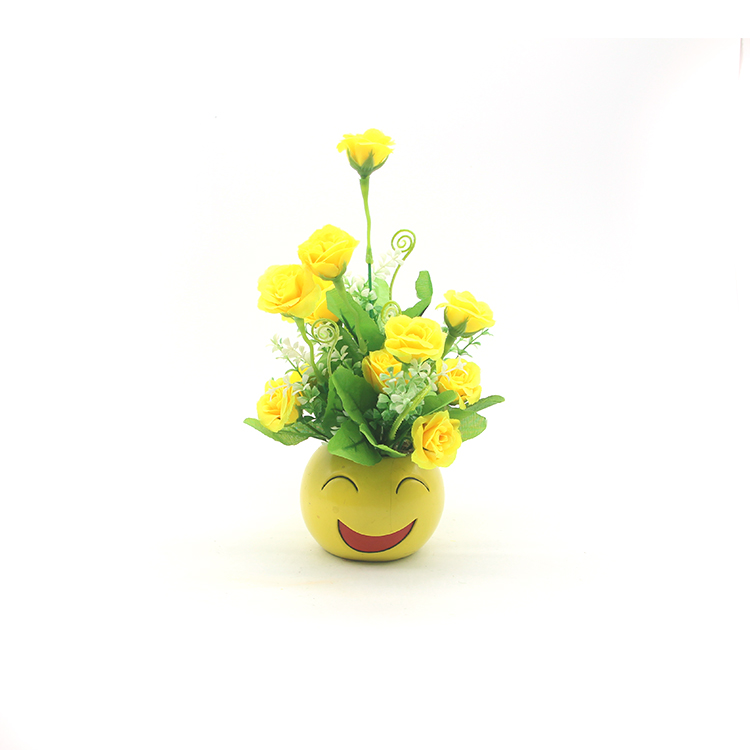 China Wholesale Decorative Artificial Flower Potted in Smile Pot