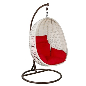 Outdoor leisure balcony lounge furniture steel frame white rattan patio swings hanging egg chair garden furniture wicker sofa