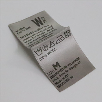 High Quality Screen Silk Printed Grey Background Polyester Label Custom Brand Logo Satin Garment Wash Care Labels
