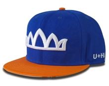 High quality <strong>caps</strong> orange colour visor 6 panel snapback <strong>cap</strong>, White 3D embroidery royal blue crown snapback <strong>caps</strong>