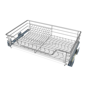 Customized Stainless Steel Chrome Kitchen Cabinet Pull Out Storage Wire Drawer Basket With Soft-close Slides