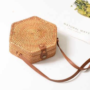 Summer Handmade woven Women Straw Bag Indonesia Bali Natural Bamboo Hexagonal Messenger Rattan Beach bag