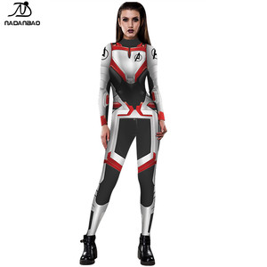 NADANBAO Brand 2019 hot sale custom high quality sexy 3d printed marvel avengers quantum clothing women jumpsuit