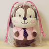 Large capacity drawstring storage bag bear plush toy doll transparent plastic pvc dust backpack