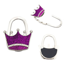 Wholesale Metal crown foldable bag purse hanger Kids Bag Hanger With Logo For <strong>Advertising</strong>