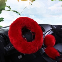 Wool Sheepskin Winter Warm Car Soft cover Long Fur Plush Steering Wheel Cover