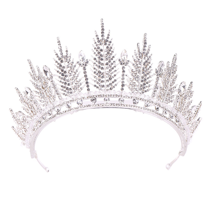 Sunsky Wholesale Korean Handmade Crystal Leaf Shaped Large <strong>Crown</strong> Exquisite Tiara Wedding Bride <strong>Crown</strong>