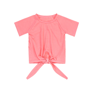 SY-067-YXN-D1 Wholesale Baby Pink Knot Bow Short Sleeve With Good Quality