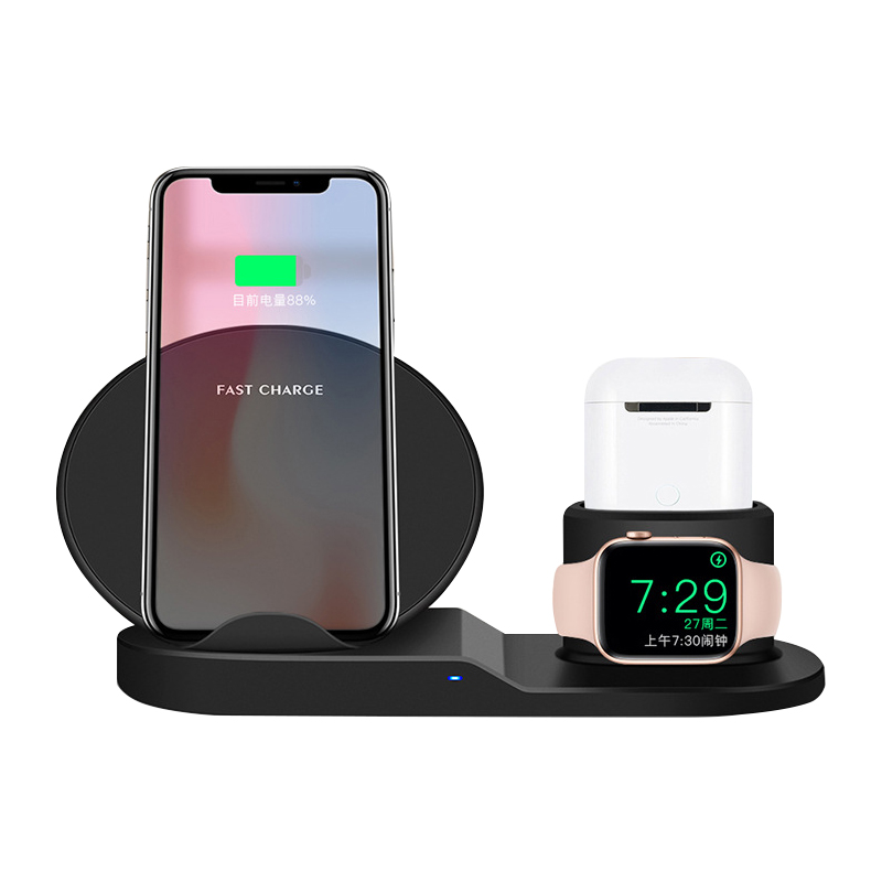 10W 3in1 all in one qi 3 coil wireless phone charger 3 in <strong>1</strong> magnetic charging station stand fit for apple watch iphone airpots