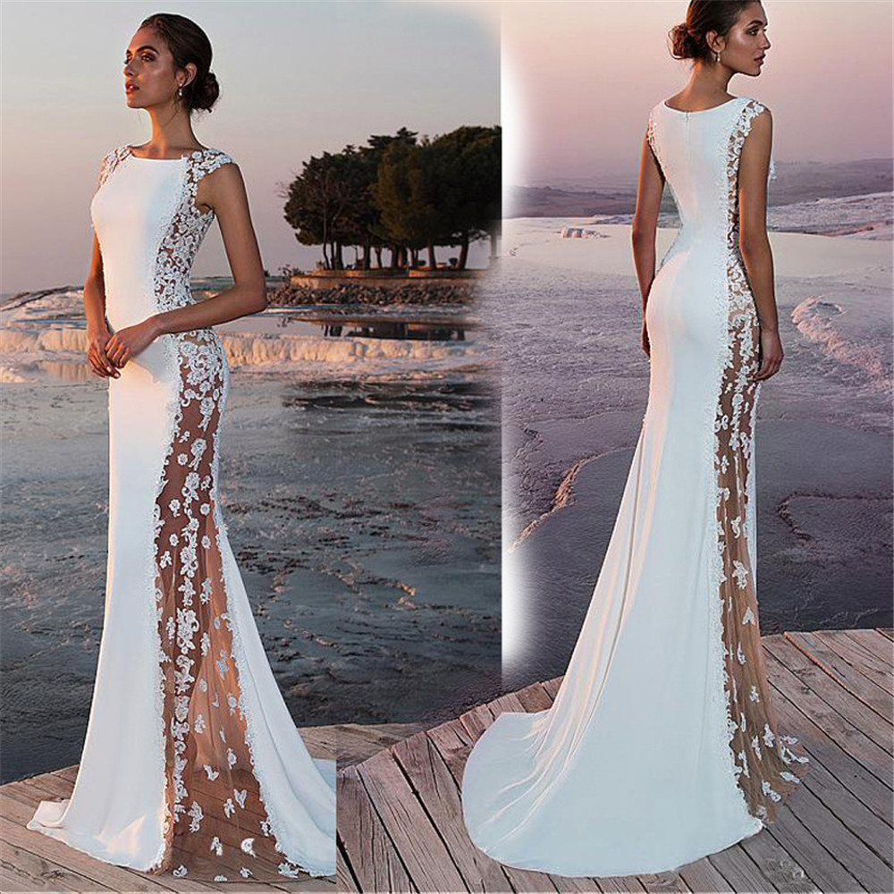 Summer Bohemian Beach Mermaid Wedding Dresses 2019 White Lace Satin Plus Size Bridal Party Gowns Vestidos De Novia Evening Dress
