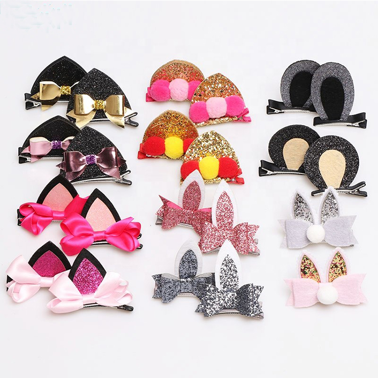 Adorable Glittering Cat Ear <strong>Hair</strong> Clips Barrettes for Baby Girls, Cute Animal <strong>Hair</strong> Pins <strong>Accessories</strong> for Babies