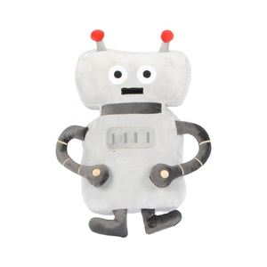 Eco-friendly Soft Baby Plush Grey Kids Pillow Robot