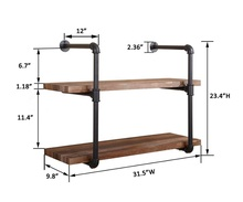 Rustic Wooden Wall <strong>Shelf</strong> Iron wall mount <strong>shelf</strong> 2 Tiers with Industrial Metal Pipe for Book or Storage
