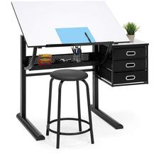 Best Choice Products Drawing Drafting Craft Art Table Folding Adjustable Desk <strong>w</strong>/Stool - Black/White
