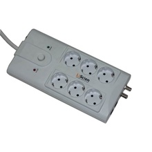 6 way German Type Surge Protector of Power Strip Electric Schuko Socket with RJ11 Coaxial Protector
