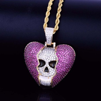 ins Purple skull Pendant Gold Silver Color Bling Cubic Zircon broken heart Men's Hip hop Necklace Jewelry For Gift dropshipping