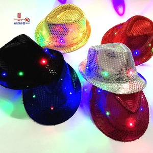 Superior quality wholesale Christmas Halloween evening party 3 gear switch colorful 9 light glitter cowboy jazz led fedora hat
