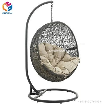 Indoor Outdoor Furniture Patio Rattan Double Size Swing Hanging round Chair With Steel Pole