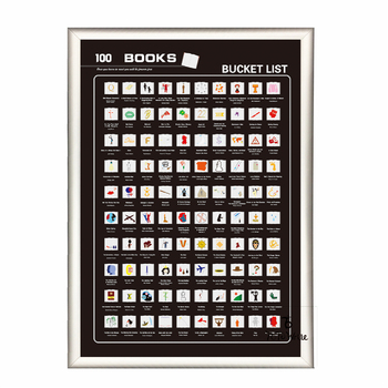 Black Scratch Off Poster 100 Book Bucket List With Frame