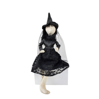 Scary homemade halloween decoration ideas shelf sitter bendable doll indoor decor black witches bride with lace dress