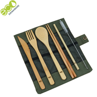 stocked personalize eco friendly nature knife toothbrush straw cleaner fork chopstick spoon dinner bamboo cutlery set