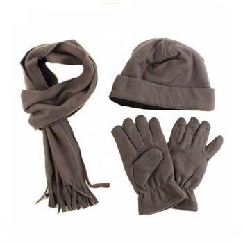 Wholesale eco knitted recycled pet rpet winter hat gloves scarf set