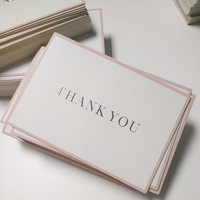 luxury custom 800g thick paper thank you post card with foil logo