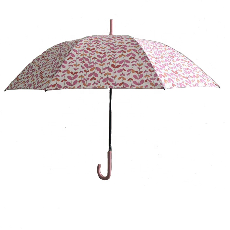 23inch*8k 190T pongee fabric stick umbrella with plastic <strong>J</strong> handle straight umbrella