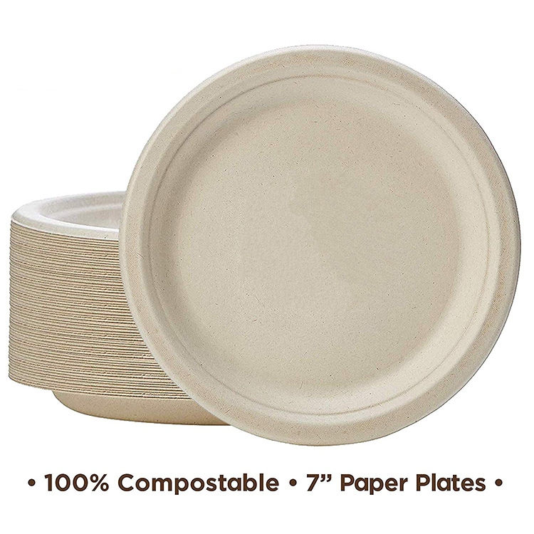 "100% Compostable 7"" Paper Plates [125-Pack] Heavy-Duty Quality Natural Disposable Bagasse, Eco-Friendly Made of Sugar Cane Fiber"