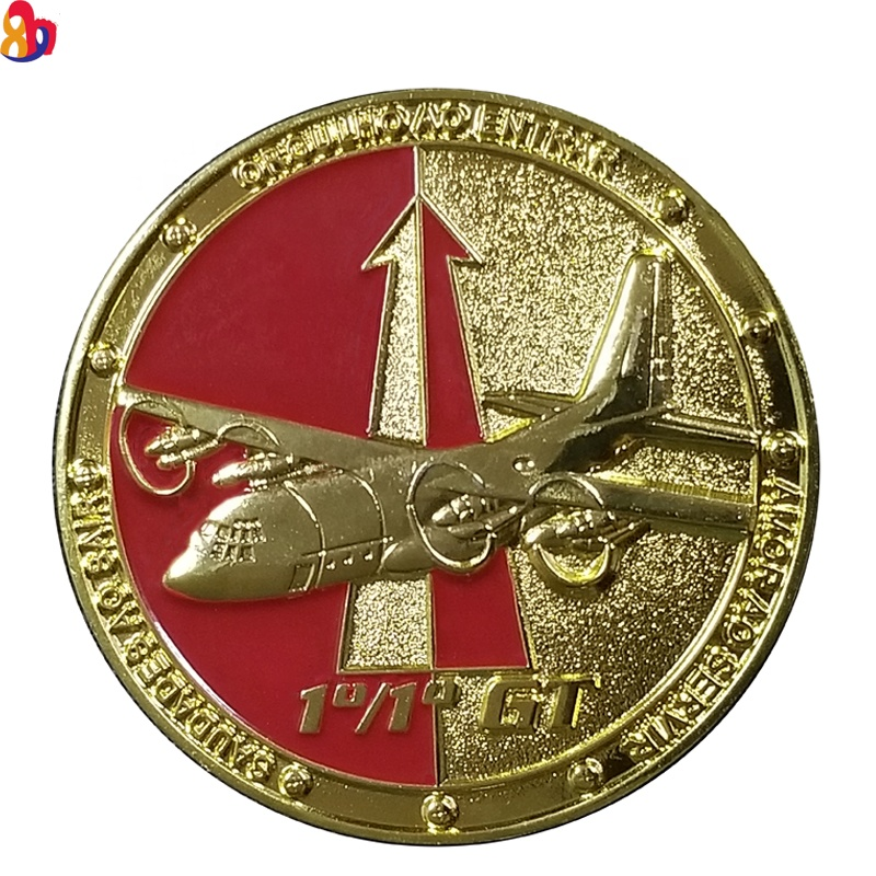 custom airplane and eagle design gold double faced coin commemorative coin
