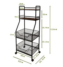 4 tier multifunction metal kitchen storage shelf rack for <strong>fruit</strong> or vegetable with wheels