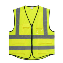 Wholesale High Visibility Airport Police Construction Security Reflective <strong>Safety</strong> Vest With Pockets Clothing ZIpper Closure