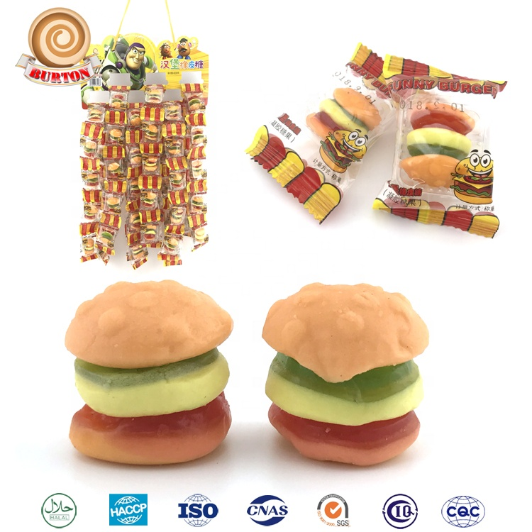 Hamburger shaped fruit chew sour funny gummy candy