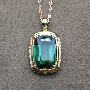 18k Gold Charm Pendant 13.05ct Natural Tourmaline Gemstone Jewelry For Party