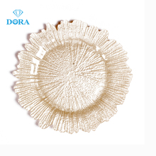 High Quality Metal Gold Glass Charger <strong>Plates</strong> for Wedding Decoration