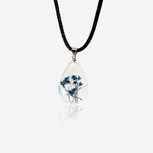 Vintage jewelry custom real dry flower resin pendant <strong>necklace</strong>